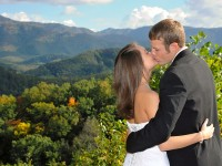 bride and groom in the smoky mountains